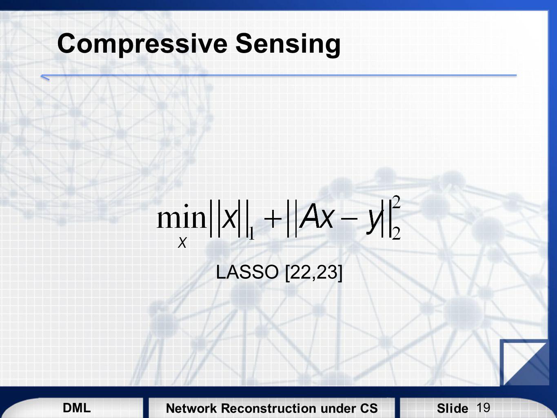 Compressive Sensing LASSO [22,23]